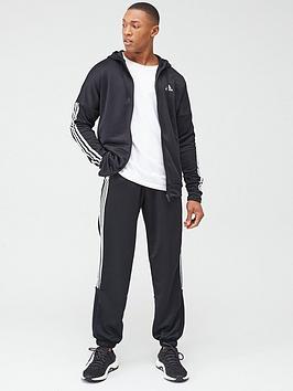 adidas-3-stripe-hooded-tracksuit-black