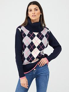 v-by-very-button-back-patterned-jumper-navycheck