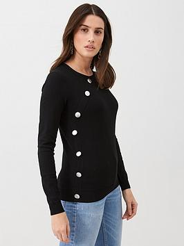 v-by-very-side-button-detail-jumper-black