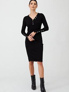 v-by-very-v-neck-button-front-dress-black