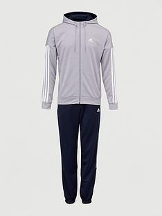 adidas-3-stripe-hooded-tracksuit-greynavy