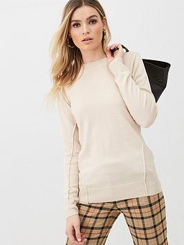 v-by-very-crew-neck-seam-detail-jumper-oatmeal