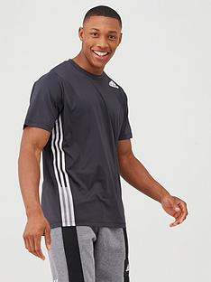 adidas-training-3-stripe-t-shirt-black