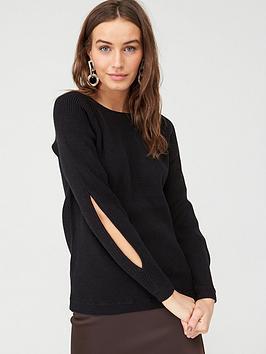 v-by-very-split-sleeve-knitted-jumper-black