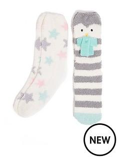 oasis-2-pack-cosy-penguin-socks-multi