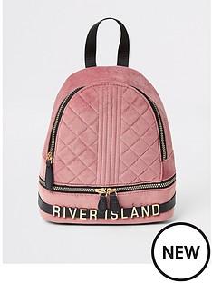 river-island-girls-quilted-velvet-backpack