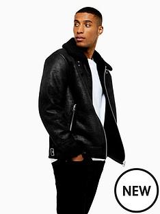 topman-topman-shearlng-faux-leather-aviator-jacket-black