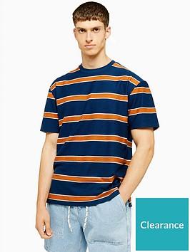 topman-topman-loopbacknbspstripe-t-shirt-navy