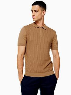 topman-topman-knitted-zip-polo-shirt-camel