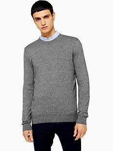 topman-topman-essentials-crew-neck-jumper-grey