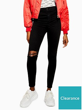 topshop-petite-black-ripped-joni-skinny-jeans-black
