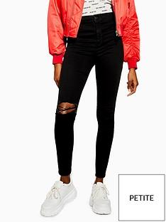 topshop-topshop-petite-black-ripped-joni-skinny-jeans-black
