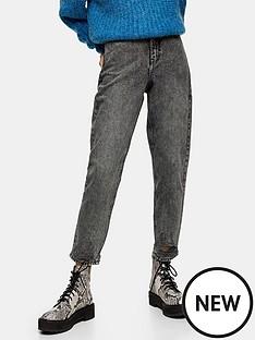 topshop-topshop-grey-ripped-hem-high-waist-mom-jeans-grey