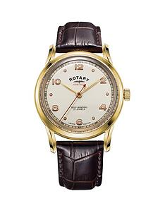 rotary-rotary-heritage-gold-and-red-detail-automatic-dial-brown-leather-strap-mens-watch