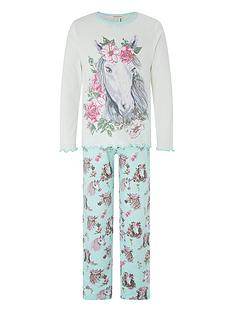 monsoon-girls-nara-horse-jersey-pyjama-set-aqua