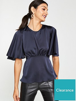v-by-very-kimono-short-sleeve-tie-back-top-navy