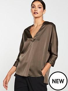 v-by-very-satin-notch-neck-blouse-khaki