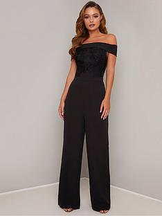 chi-chi-london-janella-embroidered-bardot-wide-leg-jumpsuit-black