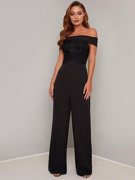 chi-chi-london-janella-embroidered-bardot-wide-leg-jumpsuit-black