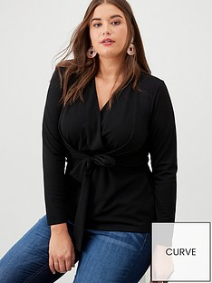 v-by-very-curve-buff-knot-detail-crepe-top-black