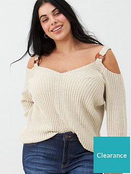 v-by-very-curve-cold-shoulder-ring-detail-jumper-cream