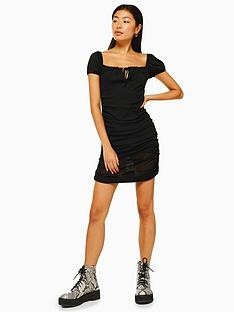 topshop-topshop-mesh-bardot-ruch-dress-black