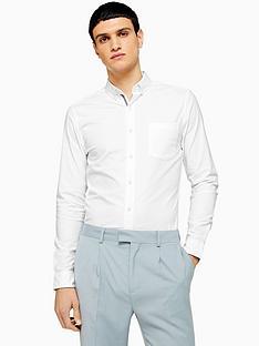 topman-topman-long-sleeve-stretch-oxford-shirt-white