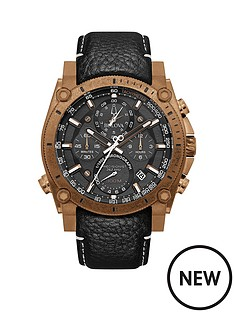 bulova-bulova-precisionist-black-chronograph-and-bronze-plated-bezel-dial-black-leather-strap-mens-watch