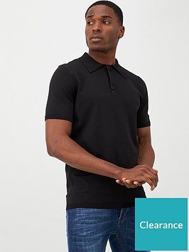 river-island-black-knitted-muscle-fit-polo-shirt