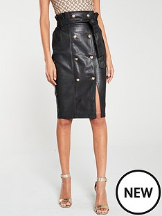 river-island-river-island-pu-button-detail-pencil-skirt-black