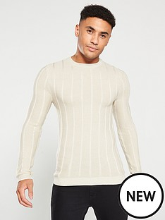 river-island-stone-muscle-fit-knitted-crew-neck-jumper