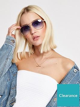 river-island-river-island-blue-lens-aviator-sunglasses-gold