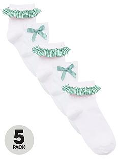 v-by-very-girls-5-pack-gingham-frill-school-socks-green