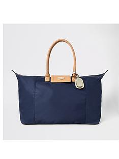 river-island-foldover-weekend-bag-navy