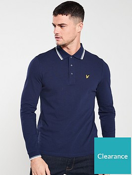 lyle-scott-lon-sleeved-tipped-polo-shirt-navy