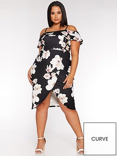 quiz-curve-curve-floral-wrap-midi-dress-black