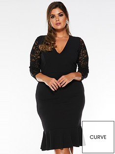 quiz-curve-curve-v-neck-lacenbspthree-quarter-sleeve-frill-midi-dress-black