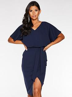 quiz-scuba-crepe-double-v-batwing-dress-navy