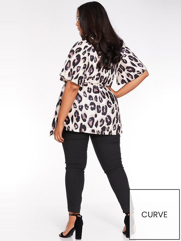 Curve Animal Wrap Batwing Top Leopard Print