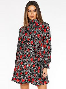 quiz-high-neck-wrap-long-sleeve-dress-with-heart-print-black