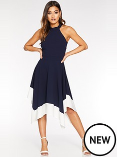 quiz-high-neck-contrast-hanky-hem-dress-navycream