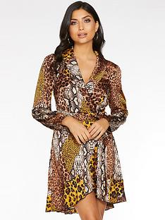 quiz-satin-animal-wrap-dress-with-frill-hem-and-tie-belt-brownmustard