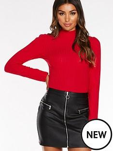 quiz-pu-3-zip-detail-a-line-skirt