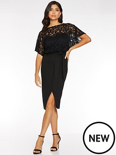 quiz-lace-batwing-top-dress-black