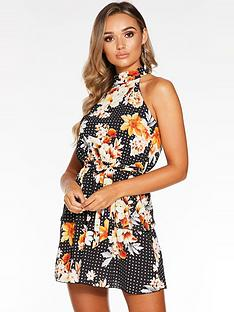 quiz-floral-halter-neck-dress-black