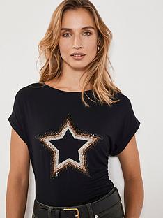 mint-velvet-sequin-star-t-shirt-black