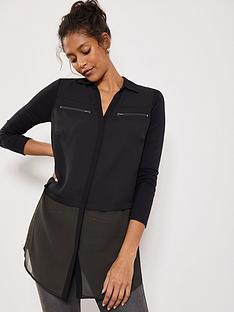 mint-velvet-zip-front-blocked-tunic-blouse-blackkhaki