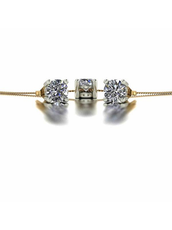 Moissanite 9ct Gold 1ct Eq Solitaire Stud Earrings and Pendant Set