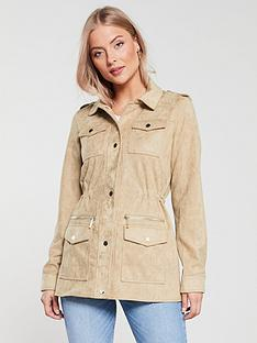 river-island-suedette-army-jacket-sand