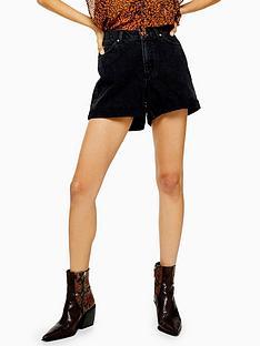 topshop-roll-hem-denim-mom-shorts-black